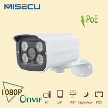 MISECU 48 V POE Cámara 1920*1080 P 2.0MP IR Cámara IP POE ONVIF Impermeable Out/interior Noche visión P2P seguridad CCTV XMEye