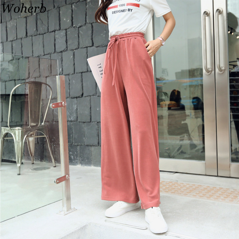 Woherb 2019 Summer Elastic High Waist Straight   Wide     Leg     Pants   Women Korean Modis Streetwear Bow Bandage Trousers Office Lady