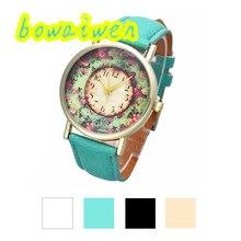 Bowaiwen #0044 Женщина часы Пастораль Цветочные Женщины Кожаный Ремешок Аналоговый Кварц Циферблат Наручные Часы мода