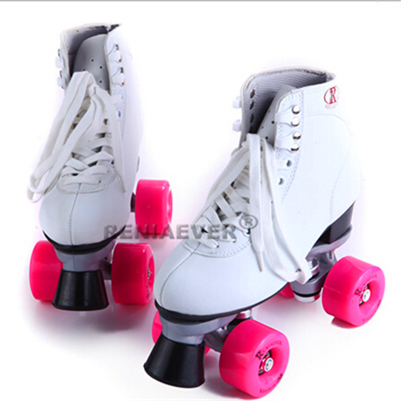 Girls Fashion Double Roller Skates Reniaever Skate Two Line Roller Skate Patins for Lady, Breathable Hole reniaever double roller skates skating shoe gift girls black wheels roller shoe figure skates white free shipping