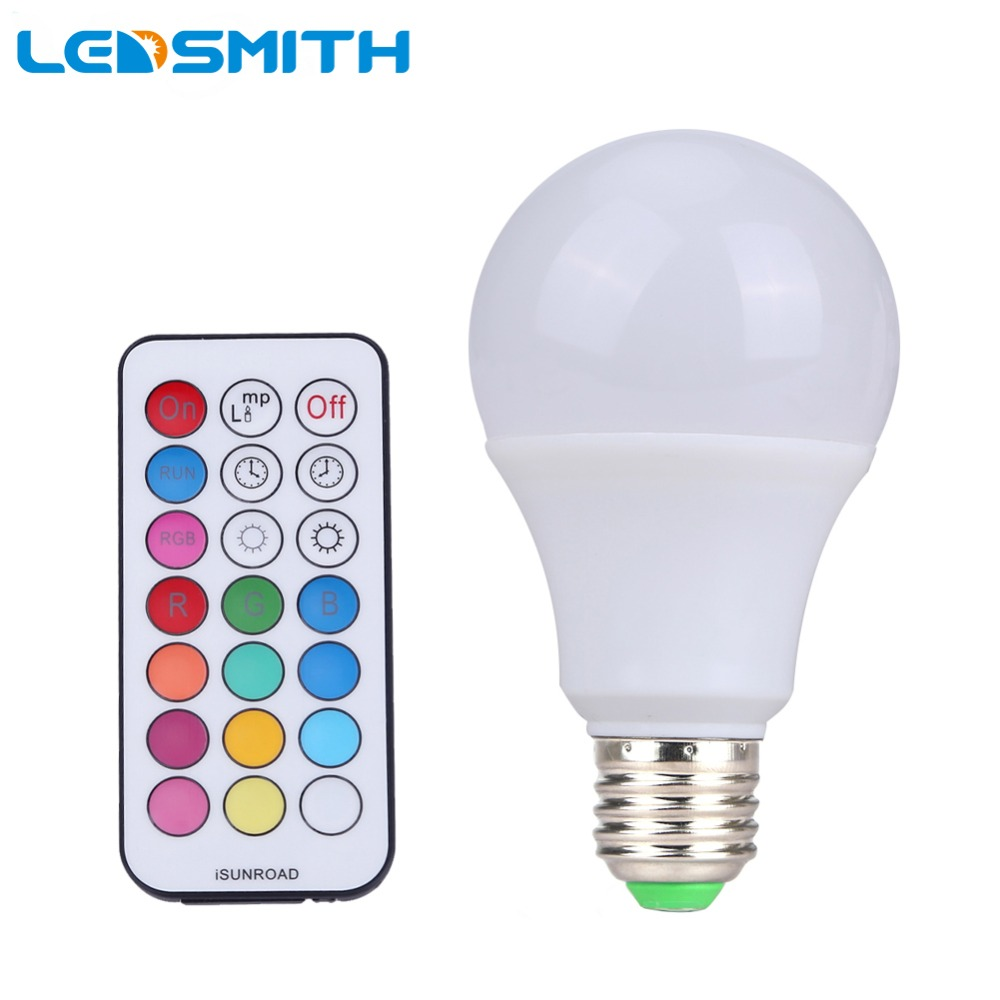 10W E27 RGBW LED Bulb Color Light RGB White Timing Function Dimmable LED Lamp with Remote Controller Dimmer zigbee bridge led rgbw 5w gu10 spotlight color changing zigbee zll led bulb ac100 240v led app controller dimmable smart led