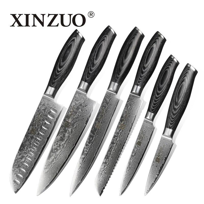 XINZUO 6 pcs Cuisine Couteaux Set VG10 Damas En Acier Haute Teneur En Carbone Japonais Chef Santoku Couteau Cuisson Ensemble Pakkawood Poignée