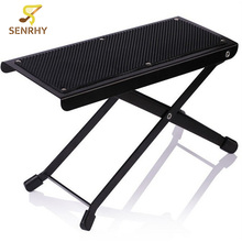 Senrhy New Musical Instrument Metal Folding Guitar Pedal Black Guitar Parts For Acoustic Guitar Footrest Footboard Mini Pedals