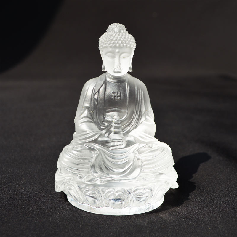High-grade Clear Crystal <font><b>Glass</b></font> Buddha Sculpture Figure Statue Feng Shui Buddhism Crafts Gift For Home Decor Ornaments Souvenirs