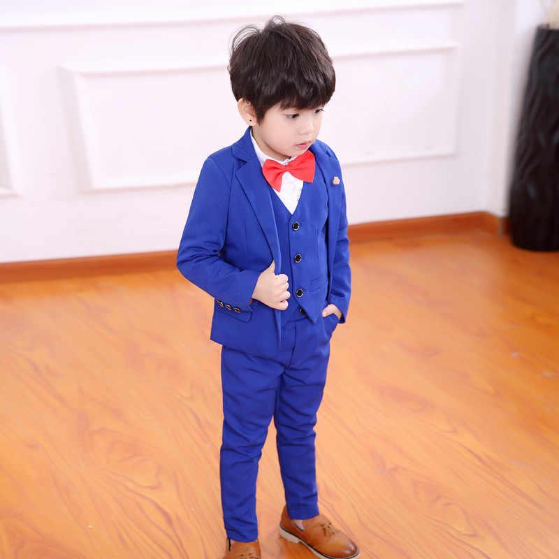Летний вечерний деловой блейзер с цветочным принтом для мальчиков; комплект одежды; детская куртка; жилет; брюки; костюм-смокинг из 3 предметов для свадьбы; Детский костюм на день рождения