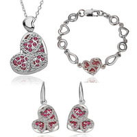 Wholesales Fashion Jewelry silver Plated Rhinestone Crystal Hollow Peach Heart Crystal Jewelry Sets for women