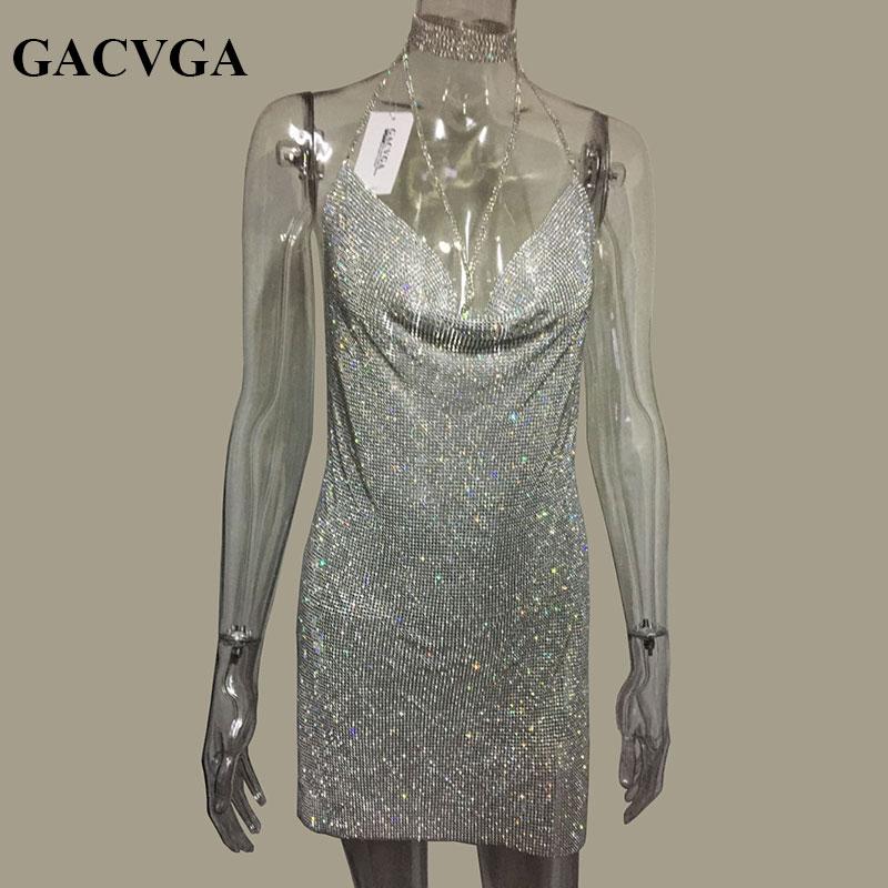 GACVGA Crystal Metal Halter Shining Summer Dress Women Beach Dress Sequin Mini