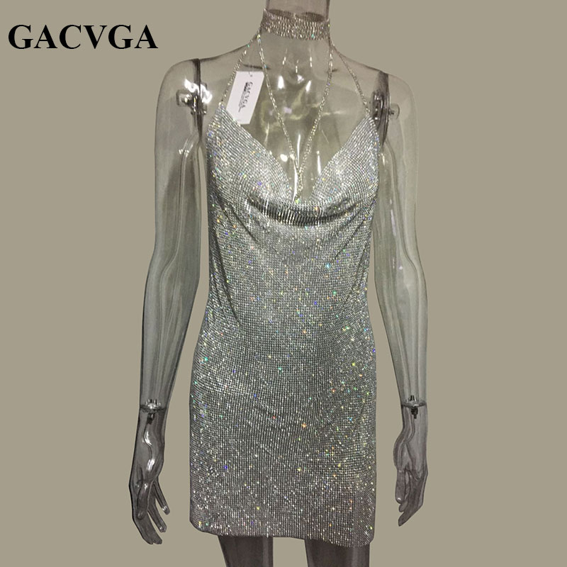 GACVGA 2019 Crystal Metal Halter Shining Dress Summer Summer Gratë Beach Dress Sequin Mini Fustanet e Partisë Vestidos