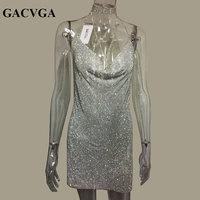 GACVGA 2019 Crystal Metal Halter Shining Summer Dress Women Beach Dress Sequin Mini Sexy Party Dresses Vestidos