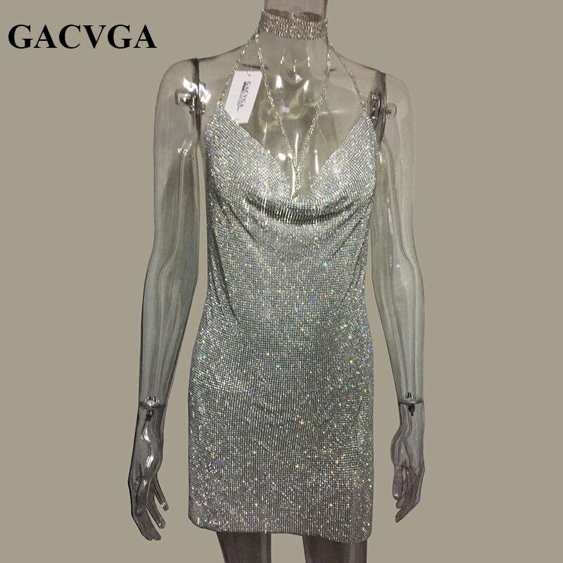 GACVGA 2019 De Metal Cristal Halter Brilhante Vestido de Verão Mulheres Praia Vestido de Lantejoulas Mini Sexy vestidos de Festa Vestidos