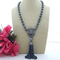 N071909 23 Black Pearl Necklace Lion CZ Pave Pendant