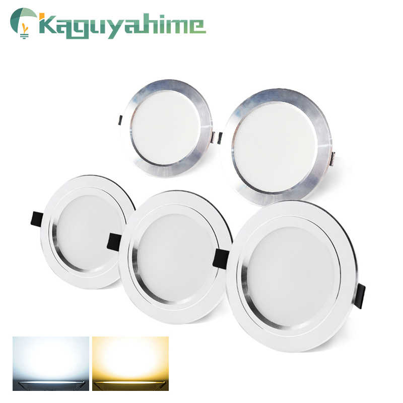 Kaguyahime LED Downlight 220V AC 110V Recessed Round LED Lamp 3W 5W 9W 15W Aluminum Spot Light Warm White Cold White High Bright