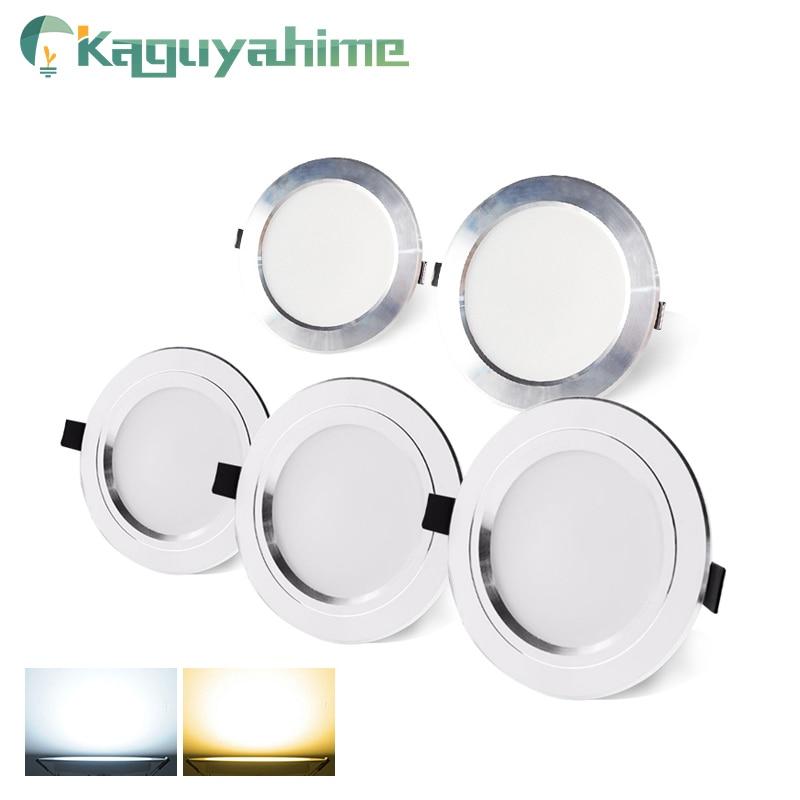 Kaguyahime LED Downlight 220V AC 110V Recessed Round LED Lamp 3W 5W 9W 15W Aluminum Spot Light Warm White Cold White High Bright