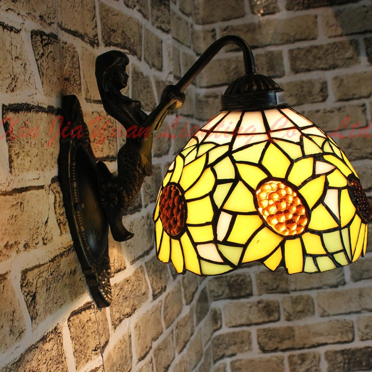 Creative Stained Glass Tiffany Mediterranean Simple LED lustre E27 mermaid wall lamp for lattice corridor aisle balcony cafe ba tiffany baroque sunflower stained glass iron mermaid wall lamp indoor bedside lamps wall lights for home ac 110v 220v e27