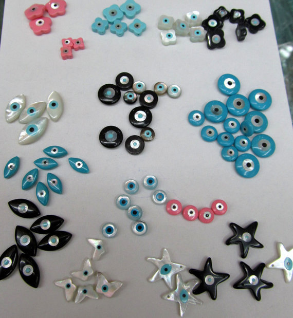 DIY Jewelry Supplies Wholesale MOP Shell 6pcs 13x18mm Mother Of Pearl Shell Evil Eye Beads Hamsa Hand Beads