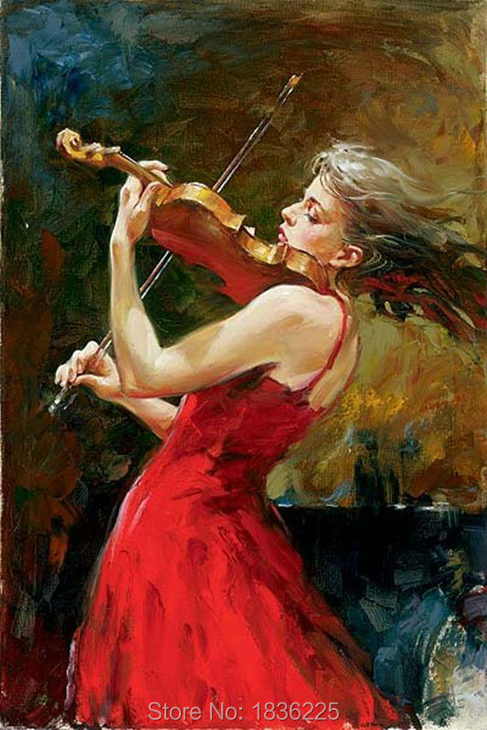 Gift 100% Handpainted beautiful girl musical instrument Oil Painting On Canvas Wall Art Pictures Home hotel Decorative