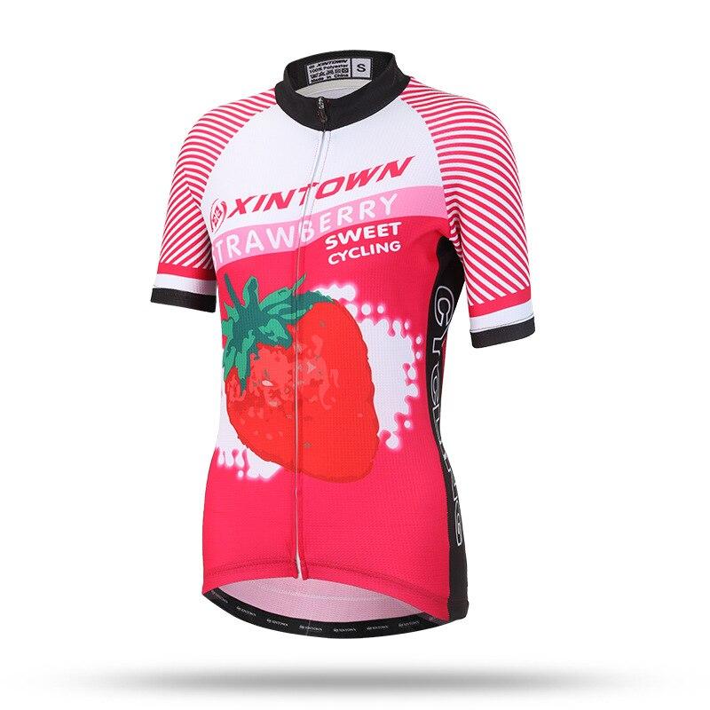 Femmes Vélo Jersey À Manches Courtes Jersey Vélo Vélo Clothing Printemps Été Automne Respirant Cycle Porter Chemise Fraise dans Maillots de cyclisme de Sports et loisirs