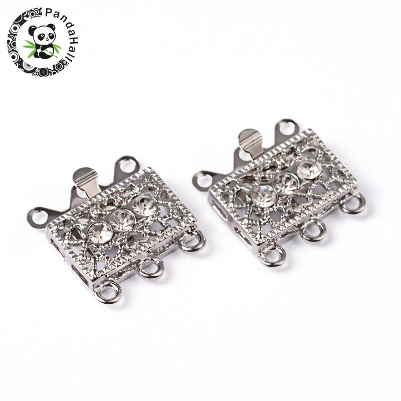 Golden Platinum Tone Brass Rhinestone Clasps Hook 3-Strand Rectangle Filigree Clasps For Bracelet Necklace Jewelry Making