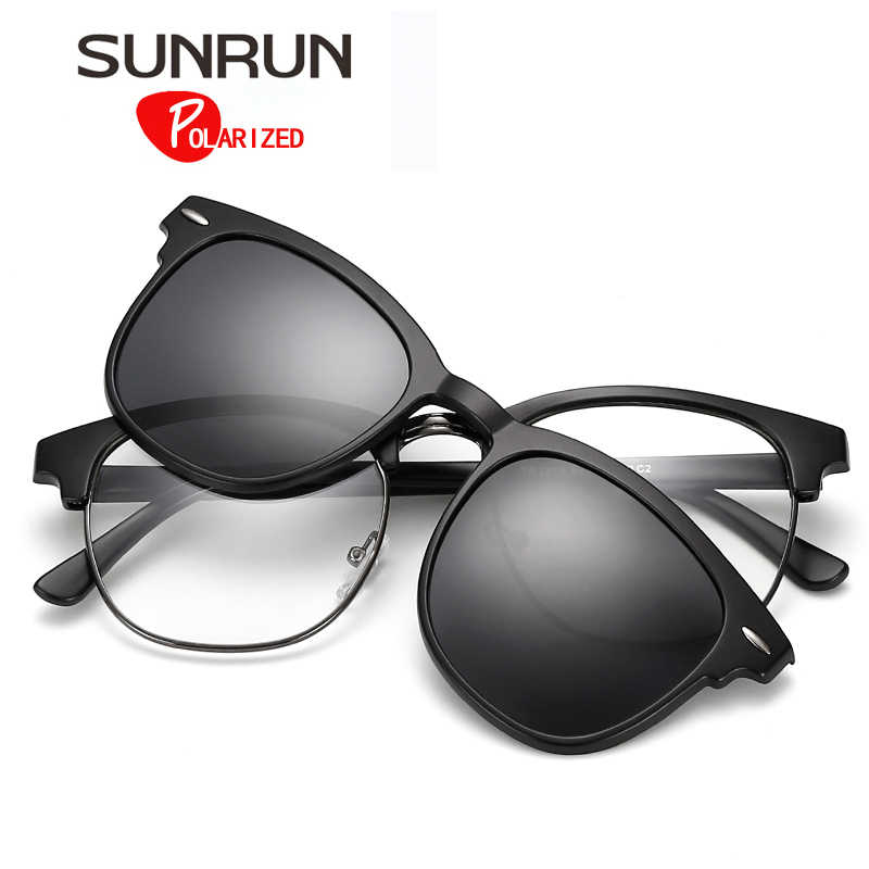a7eeb9d22c SUNRUN Magnetic Clip Polarized Sunglasses Men TR90 Vintage Square Rivet  Sunglasses Unisex Optical Myopia Glasses Frame