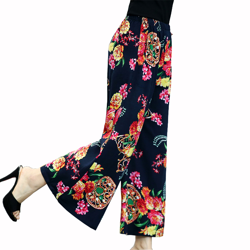 2019 women vintage print   wide     leg     pants   pockets elastic waist ladies streetwear casual trousers mujer