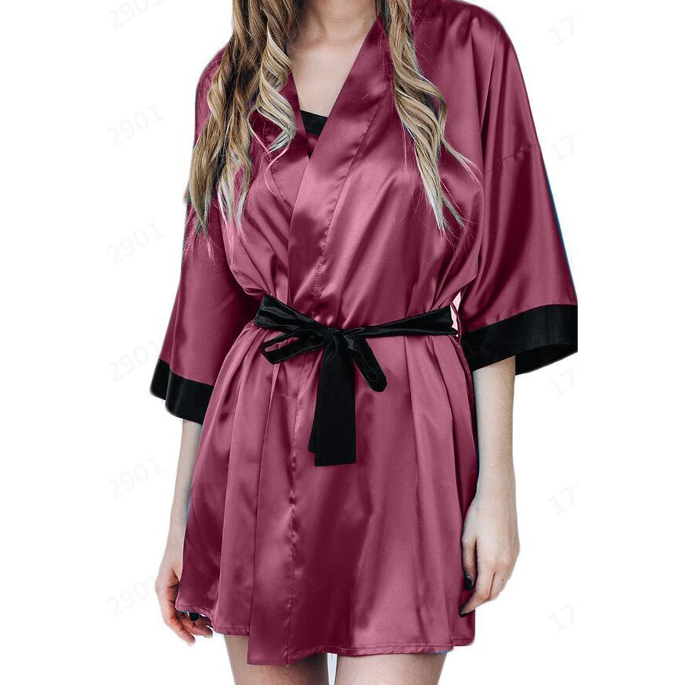 Nightgown Bathrobe Lace Silk Half-Sleeve Sexy Fashion Summer Women Home V-Neck Cardigan