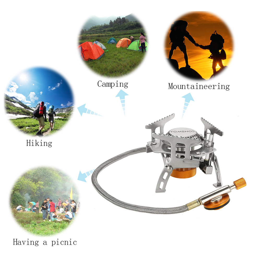 Image 4 - TOMSHOO Outdoor Camping Stove Gas Stove Kit Ultralight Compact Foldable Backpacking Gas Stove with 9 Plate Camp Stove Windscreen-in Outdoor Stoves from Sports & Entertainment