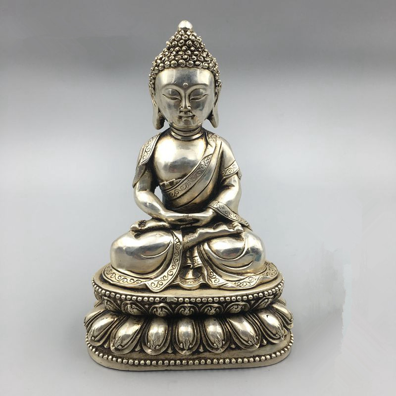 TNUKK  Chinese Buddhism miao Silver bouddha Rulaifo Buddha Statue home crafts metal handicraft.