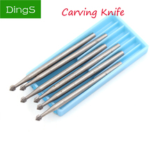 6pcs 2.35mm Shank 1.0-2.3mm Precision Tungsten Carbide Rotary Burrs Milling Cutter Tool Peach Type Carving Knife TuoLZ