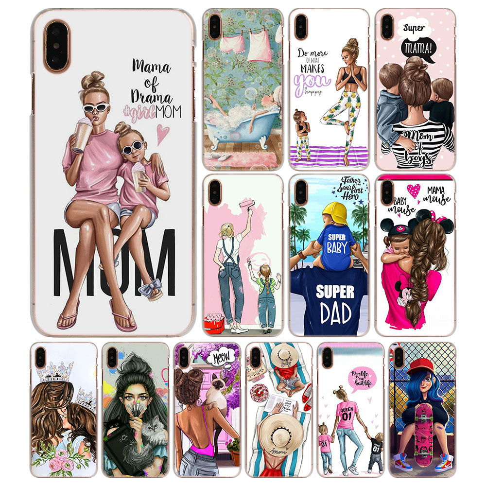 Official Website Fashion Black Brown Hair Baby Mom Girl Queen Hard Pc Phone Case Cover For Iphone X 5 5s Se 6 Xr Xs Max 7 8 8plus 100% High Quality Materials Phone Pouch