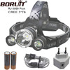 NEW Boruit 3T6 Rechargeable Headlamp Waterproof 18650 Led Camping Lamp XML 3 X T6 Lights By