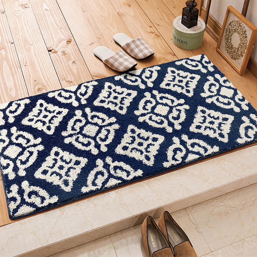 Floor mats super cheap - Blue Brown Dark Gray Geometry Pattern Super Soft Shaggy Rugs Kitchen Bedside Carpet Bathroom Absorbent Non Slip Mat
