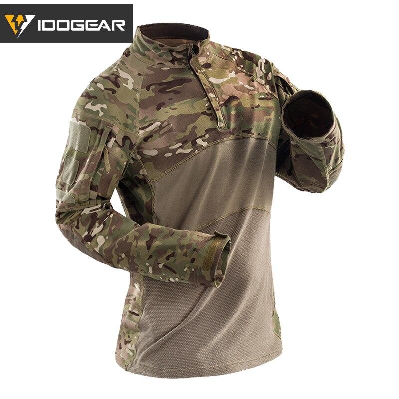 IDOGEAR Tactical Shirt Long Sleeve Top Camo Airsoft Outdoor Sports Combat Shirt Black MultiCam Camo 3105
