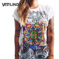 VESTLINDA Women T-Shirt Short Sleeve Fashion Graffiti Flower Print Cool T Shirts Tops 2017 Summer Casual Tee Shirt Ladies Tshirt