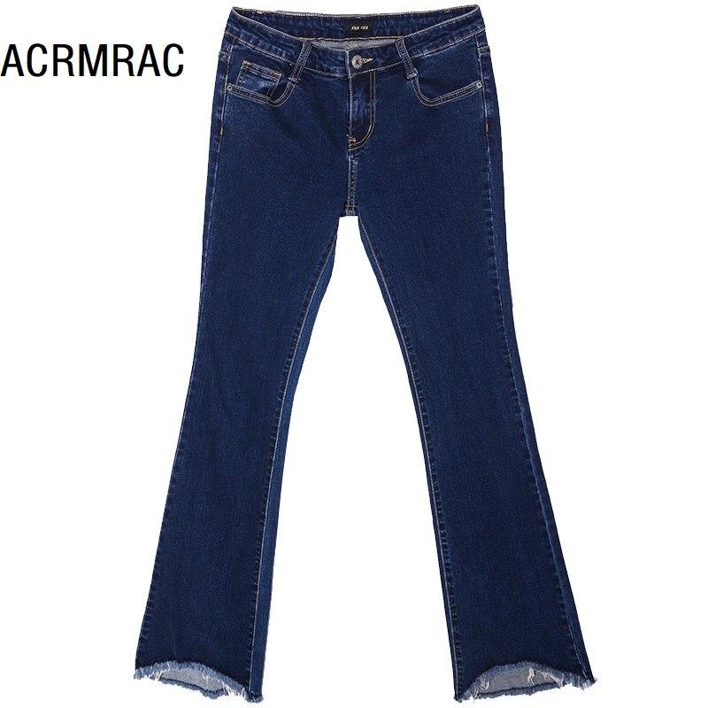36cdc05f04 Sólido Jeans Cintura Azul Slim Primavera Pantalones Otoño Mediados Color  Las Corta Longitud De Vaqueros Arranque ...
