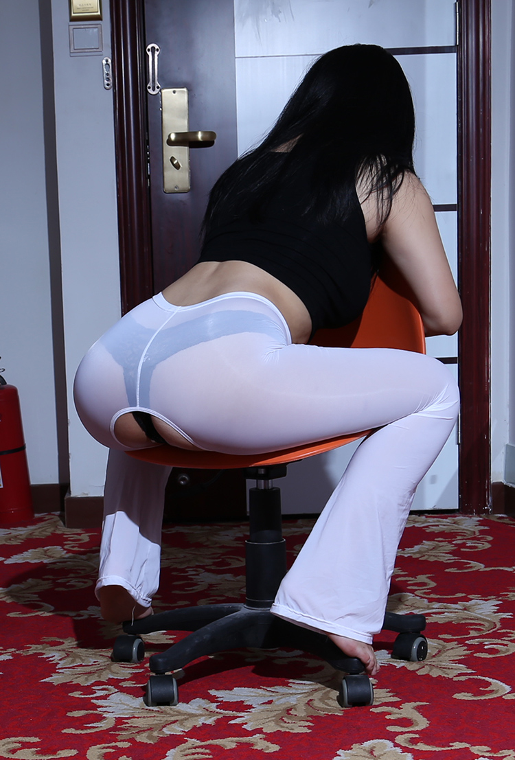 Sexy Ice Silk Open Crotch Transparent Long Flare Pants See Through Capris Sexy Hips Shiny Glossy