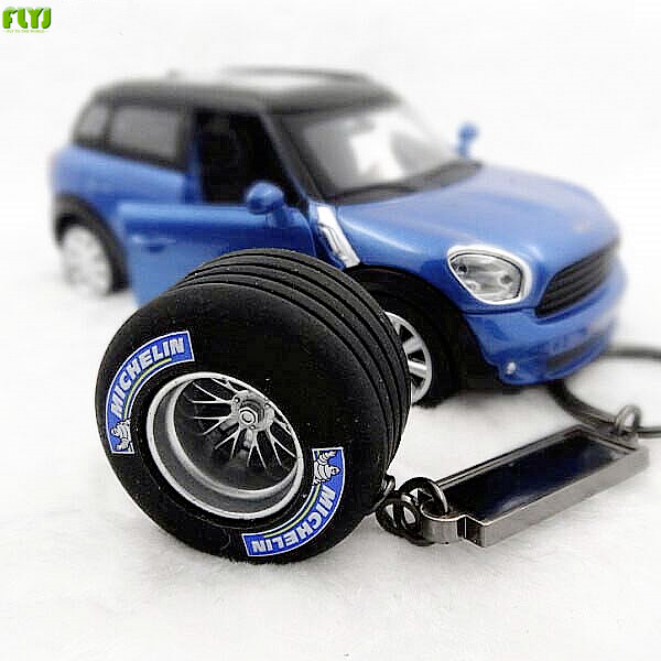 FLYJ Key-Ring Tyre Auto-Tire-Turbo Sline TRD Audi Car For Bmw E46 Automobile Car-Styling