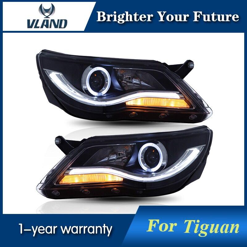 Phare LED Avec Oeil D'ange Retrofit Pour Tiguan 2009 2010 2011 LED Voiture Phare HID Lentille et allumer la lumière phares