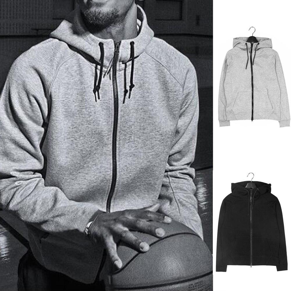 Mens Zipper Hoodie Sweatshirt Jacket Outwear Sportsweaer g Solid Fitness Cotton Black Gray Fitness Spring Sweat Coat Jacket Home