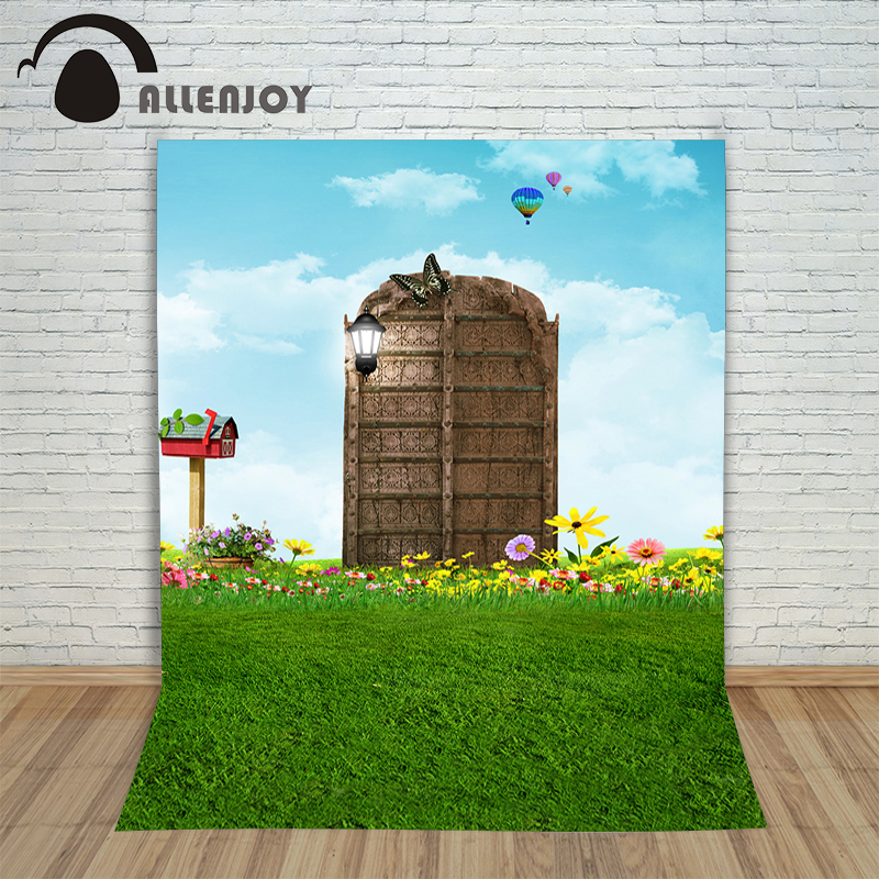 Allenjoy photography backdrops Magic Gate Grass Meadow flower Butterfly Blue Sky fire balloons backgrounds for photo studio