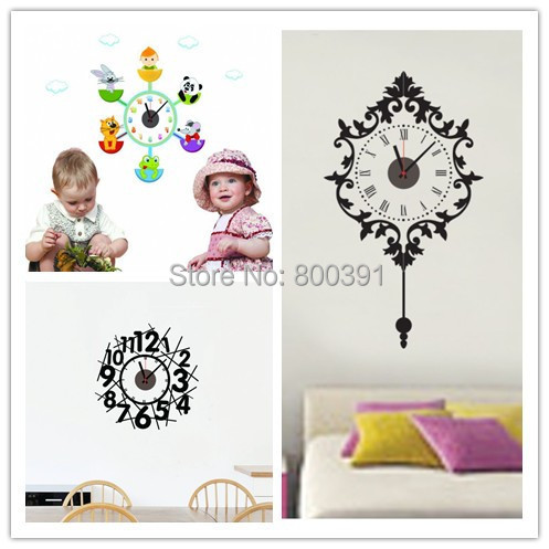 cute cartoon wall clock modern design, stickers kids room decals,wall kitchen,wall home decor - EMILYGU KIDS FASHION STORE store