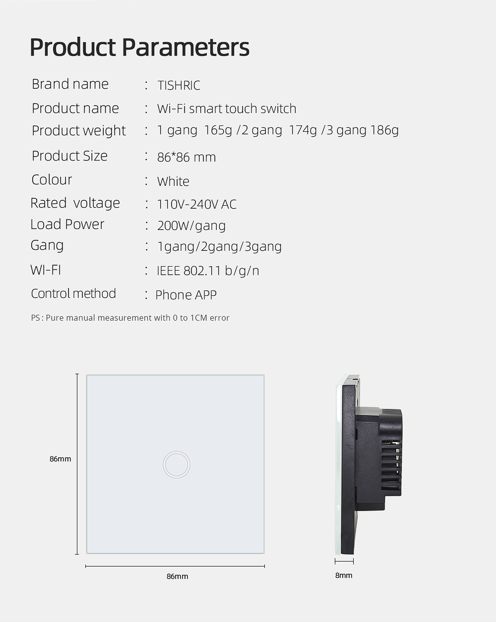 TISHRIC 86 1/2/3 Gang Wifi Light Touch Switch Wall Led Glass