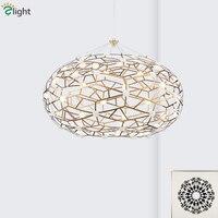 Пост современный блеск пластина медная Золотая светодио дный сталь светодиодные подвесные светильники овальная форма роскошный Luminaria подв