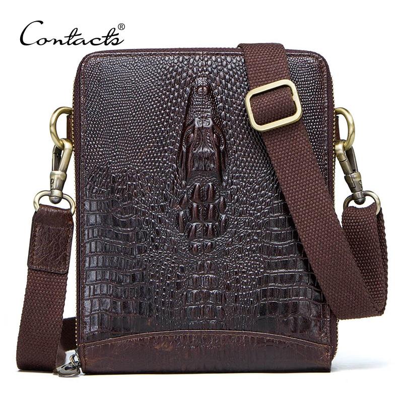 Men's Genuine Leather messenger bag Vintage Shoulder Bags Crocodile Crossbody Bags for men with Mobile Phone Pouch Waist Bag недорго, оригинальная цена