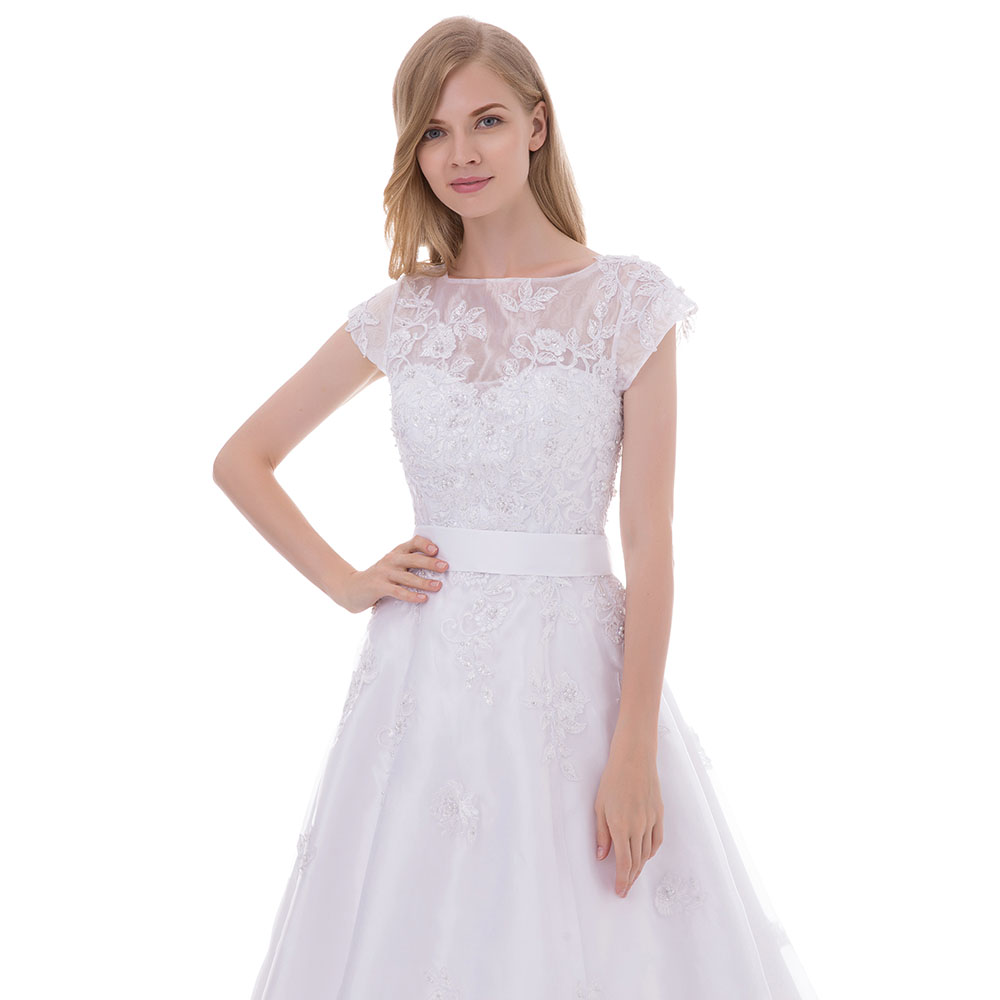 0531a4c0df5 BeryLove White Short Knee Length Wedding Dresses 2018 Beaded Lace Wedding  Dress With Sleeves Bridal Gowns Cheap Bridal Dresses-in Wedding Dresses  from ...