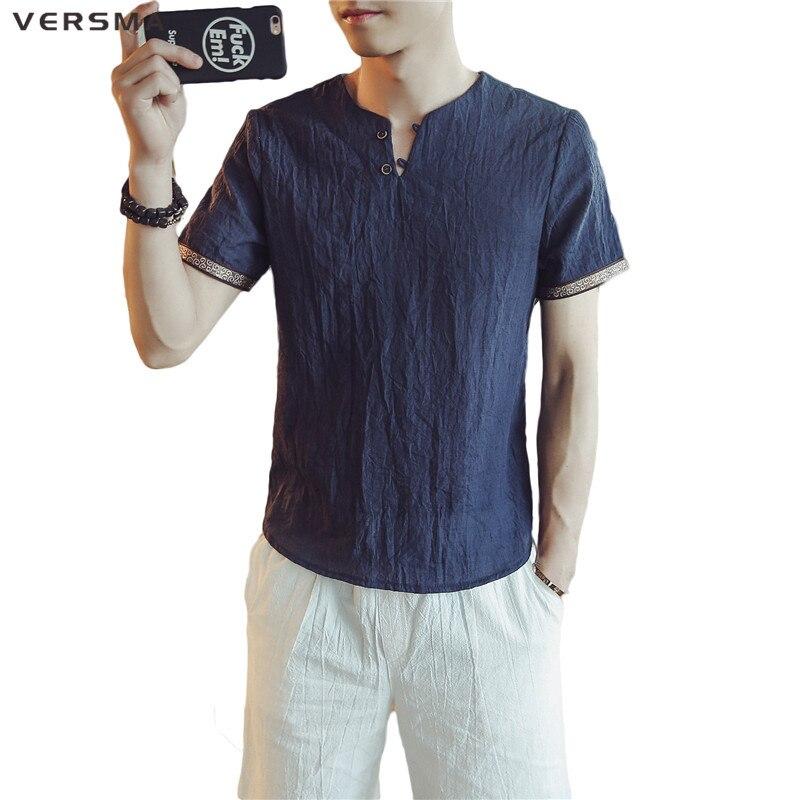 Versma отдыха свободные тонкие ткань хлопок белье футболка однотонные мужские винтажные v-образным вырезом Футболка традиционная китайская о... ...