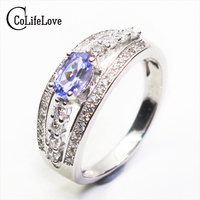 Promotion Natural Tanzanite Ring 4mm 6mm 0 5 Ct Tanzanite Stone Ring Solid 925 Silver Gemstone