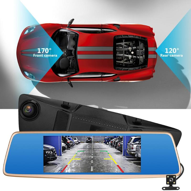 VODOOL 120 Degree Rear Mirror Car Recorder 7 Inch IN 1080P HD Touch Screen 12MP Night Vision Car Auto DVR Dash Camera Camcorder цена