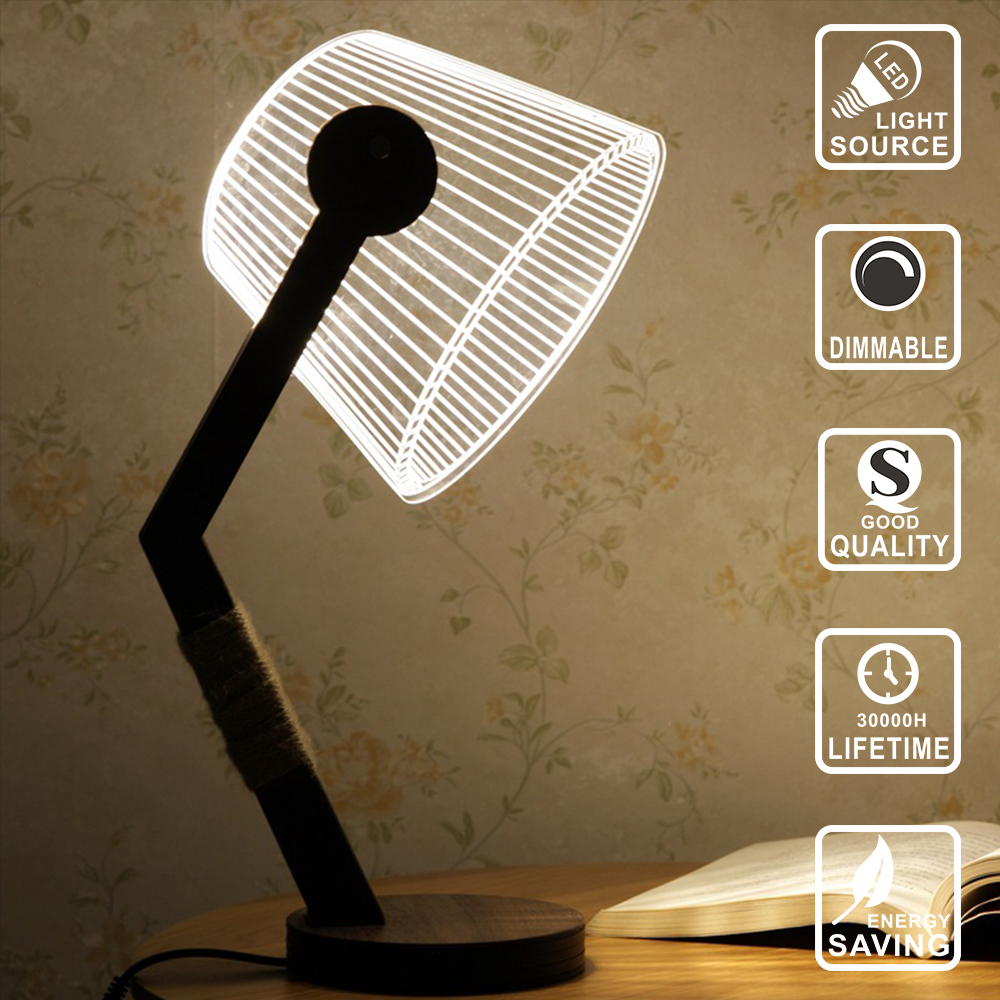 Modern Living LED Table Lamp desk table lamp wood led bulb decoration light Acrylic 3D lamp