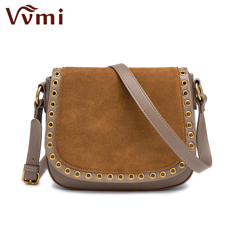 2017 Vvmi new women handbags chic vintage messenger bags female ring suede single shoulder crossbody handbags brand designer vvmi 2016 new women handbag brand design rivet suede tassel bag chic classic vintage saddle bag single shoulder bag for female