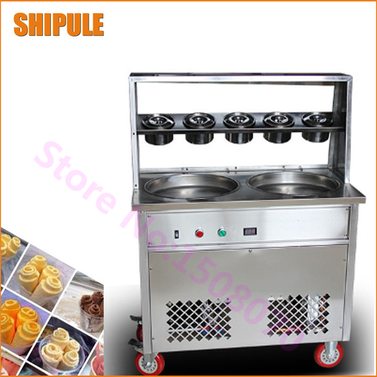 New Conditioner Stainless Steel Milk Fried Ice Cream Machine Thailand Fry Ice Cream Machine With Glass Cover